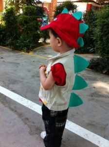 El in his Stegosaurus costume for his book week