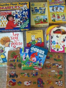 flea market educational toys and books