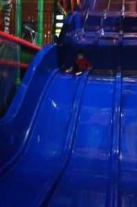 Going down a giant slide